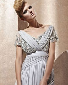 osell wholesale dropship Silk Lace Charmeuse V-neck Bead Floor Length Evening Prom Dress $297.11