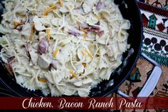 Mommy's Kitchen - Old Fashioned & Southern Style Cooking: Chicken, Bacon Ranch Pasta {My New Go To Pasta Recipe}. Suggestion - double the chicken. Pasta Recipes, Chicken Recipes, Cooking Recipes, Kitchen Recipes, Cooking Ham, Chicken Meals, Dinner Recipes, Chicken Bacon Ranch Pasta, Bacon Pasta