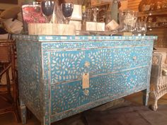 Love the mosaic detailing on this chest! Room at the Beach (Malibu, CA)