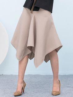 Khaki Work Asymmetric Floral Midi Skirt - StyleWe.com