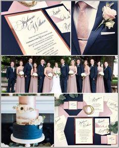 Navy Mauve and Rose Gold Foil Pocket Wedding Invitations by Inspiration I Do - Wedding Colors Navy Wedding Colors, Blue And Blush Wedding, Dusty Rose Wedding, Gold Wedding Theme, Wedding Themes, Dream Wedding, Wedding Ideas, Blush Pink, Navy Rustic Wedding