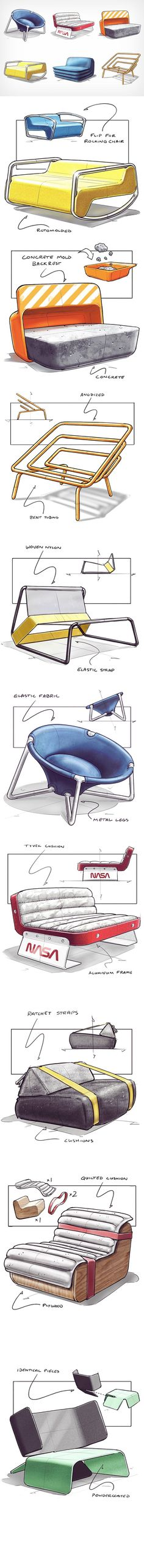 Given the hashtag of Baker uploads unusual conceptual chair designs almost every week. The chairs showcase inventiveness that one rarely sees in furniture design, as concepts take inspiration from quite literally anywhere. Scroll down Cool Furniture, Furniture Design, Furniture Sketches, Unusual Furniture, Industrial Design Sketch, House Sketch, Design Theory, Retro Logos, Vintage Logos
