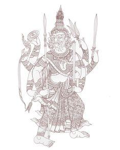 นางอากาศตะไล (ที่มาภาพ หนังสือ ยักษ์ในรามเกียรติ์ ชุด พรหมพงศ์และอสูรแห่งกรุงลงกา) Thailand Art, Thai Tattoo, Thai Art, Viking Tattoos, Amulets, Ancient Art, Artist Painting, Tatoos, Graphic Art
