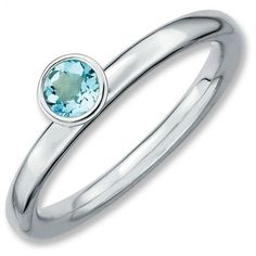 Sterling Silver Stackable Expressions High 4mm Round Aquamarine Ring