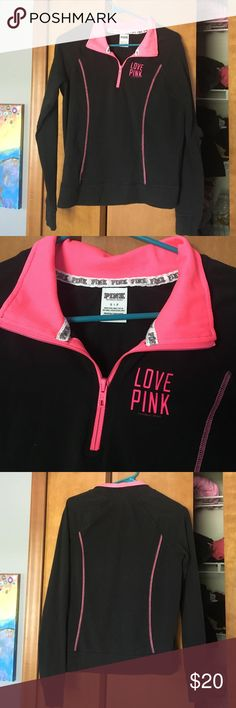 PINK quarter zip No flaws and hardly worn! Very comfortable, a yoga type of material. Great for working out PINK Victoria's Secret Jackets & Coats