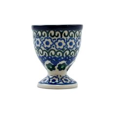 Polish Pottery Classic Egg Cup Handmade Poland Traditional CA Stoneware Pattern 106-grdsy