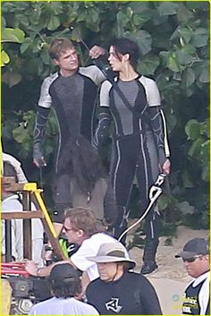 Jennifer Lawrence, Josh Hutcherson and Sam Claflin don full body suits and weapons on the set of their movie, 'The Hunger Games: Catching Fire', being filmed in Hawaii