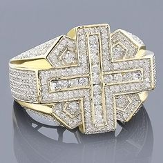 Unique Mens Rings! This 14K Gold Diamond Cross Ring showcases 1.83 ctw of sparkling round diamonds. Featuring an intricate design and a highly polished gold finish, this men's diamond ring is available in 14K white, yellow and rose gold.