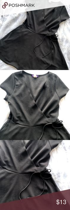 ✧ Black Faux Wrap Skater Dress • 1X • Hot Gal Brand: Hot Gal Size: 1X  Material: 96% polyester, 4% spandex  Armpit to armpit: approx. 18 inches. Shoulder to bottom hem: approx. 35 inches.  Very cute black faux-wrap skater/a-line textured dress. Hot Gal Dresses Mini