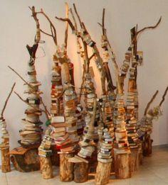 een kunstproject van boeken en boeken - het boekenbos