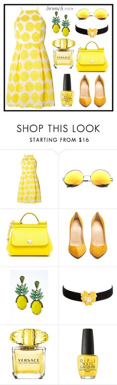 """Mother's Day Brunch Goals"" by risa-277 ❤ liked on Polyvore featuring Dorothy Perkins, SW Global, Dolce&Gabbana, Christian Louboutin, Banana Republic, Kenneth Jay Lane, Versace, OPI and brunchgoals"