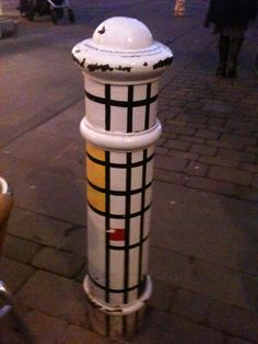 Painted bollard in Winchester.