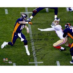 Peyton Manning Denver Broncos Fanatics Authentic Autographed 16'' x 20'' Horizontal Navy Jersey with 55 TDs in 2013; 509 TDs in 2014 Inscription - Limited Edition 2-18 of 18 - $499.99