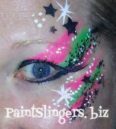 Neon pink and green graffiti eye facepainting