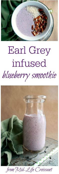 Creamy and cool Earl Grey infused blueberry smoothie with dragon fruit from midlifecroissant.com