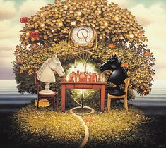 Jacek Yerka - Chess on island