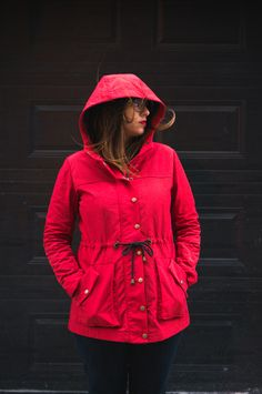 All weather Kelly Anorak in red nylon and plaid underlining!  http://closetcasefiles.com/wind-waterproof-kelly-anorak-aka-little-red-riding-hood/