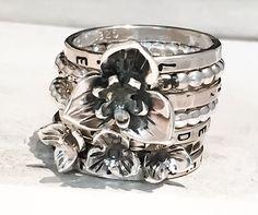 Trillium Wildflower Ring Set // Personalized Stacking Ring in Sterling Silver // Personalized Stacking Ring in Sterling Silver