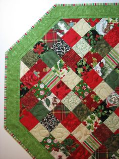 Scrappy Quilted Christmas Table TopperOctagon Red by VillageQuilts