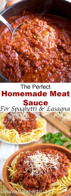 This Homemade Meat Sauce is thick, hearty and super meaty! It uses a combination of lean ground beef and Italian sausage for the most amazing flavour. Serve it over spaghetti topped with parmesan or use it in a lasagna for an extra special dinner the whole family will enjoy! #Cooking