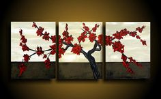 Wall Art. Abstract Painting. Asian Painting. Modern Art. Original. Contemporary Painting. Huge 20 x 48 Red Blossoms vines on Etsy, $275.00