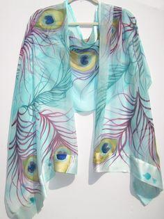 PEACOCK FEATHERS Silk Wrap. $230.00, via Etsy.