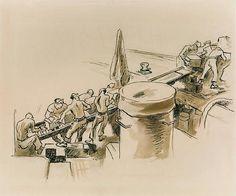 ART & ARTISTS: Thomas Hart Benton - part 4 WWII Submarine Museum, American Realism, Social Realism, Ink Wash, Printmaking, Wwii, Illustrators, Oil On Canvas, Modern Art