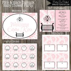 Modern Pink and Black Damask Girl Baby Shower by PartySoPerfect, $25.00