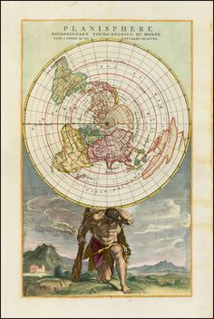 1790 Cassini Projection of the World Held up by Atlas by Elwe