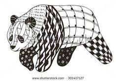 Panda zentangle stylized, vector, illustration, freehand pencil - stock vector