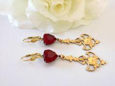 Ruby  Earrings Chandelier Earrings Victorian Style Earrings Edwardian Jewelry Statement Earrings by TreasuresofJewels on Etsy https://www.etsy.com/listing/463049067/ruby-earrings-chandelier-earrings