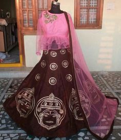#Kathakali #face #lehenga #pittawork #elegant #different #unique #brown #babypink