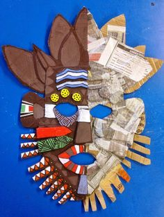 African masks inspired by Pablo Picasso Pablo Picasso was a famous Spanish painter who spent most of his life in Franc. African Art For Kids, African Art Projects, African Crafts, Classe D'art, Art Texture, Art Du Monde, Afrique Art, Cardboard Art, Cardboard Design