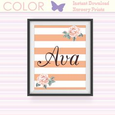 Nursery Printable Art Print, Custom Name Print, Pink Girls Room Decor, Baby Shower Gift, Pink Striped Art Print, Floral Art Instant Download
