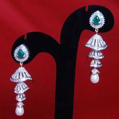 American Diamond Small Earrings  - Online Shopping for Earrings by Swarajshop