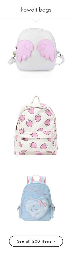 """kawaii bags"" by crimson-crow ❤ liked on Polyvore featuring bags, backpacks, accessories, accessories - bags, pink, goth bags, pink bag, gothic backpack, pastel bag and goth backpack"