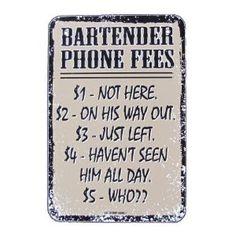 Amazon.com: BAR Phone Fees Pub Tavern Bartender Tin Sign Vintage Re: Patio, Lawn & Garden