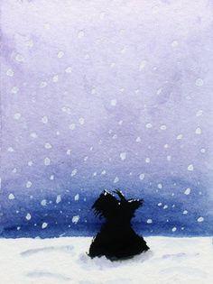 Scottish Terrier Dog  Satin Art Print 'Scottie Dog by ArchyScottie