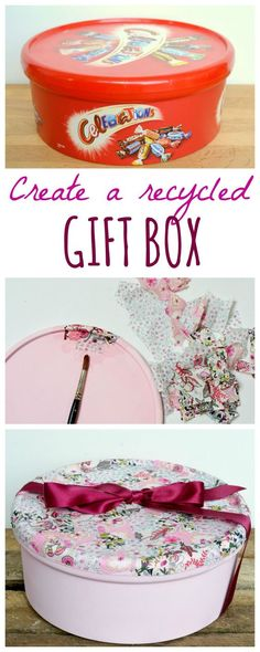 Recycle sweet tins into gorgeous boxes, perfect as DIY gift wrap this Christmas or as beautiful recycled storage. Click through for DIY step by step tutorial. Informations About Recycle sweet tins int Hobbies And Crafts, Diy And Crafts, Arts And Crafts, Tin Can Crafts, Teen Crafts, Easy Crafts, Easy Diy, Paper Crafts, Diy Step By Step