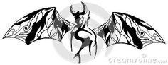 Image representing a stylized devil in black and white. And idea which can be used as tattoo or logo, decoration etc...
