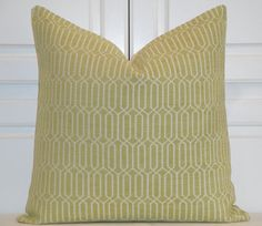Decorative Pillow Cover  Chenille in Lime by TurquoiseTumbleweed