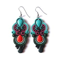 Glitter Turquoise Blue Purple Red Green and Black Statement Polymer Clay Modern Fashionable Long Big Colorful Bold Designer Earrings Jewelry