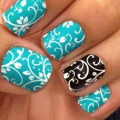 turquoise floral & black floral www.facebook.com/hopefulnails