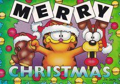 Comics postcard Garfield Cat Jim Davis US Odie Pooky Christmas greetings