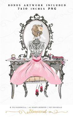 Diva ClipArt Hand gezeichnet Fashion Girl Beauty von Bloomsical