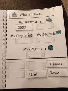 All About Me Book~ phone #, address, school, teacher, room number....I love this idea! It could be simplified for some students by using just pictures.