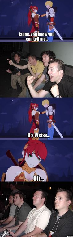 SO INCREDIBLY TRUE!! Jaune needed to realize Wiess isnt the only pretty girl and wasnt into him...