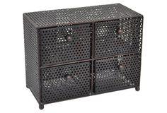 Metal Tabletop Storage, Brown