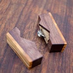 """Ring box """"The Mountain"""", made from black walnut and olive wood - engagement ring box - proposal ring box - Made to order Woodworking Workbench, Woodworking Furniture, Woodworking Projects Plans, Woodshop Tools, Woodworking Beginner, Woodworking Organization, Woodworking Quotes, Youtube Woodworking, Woodworking Equipment"""