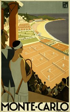 Vintage Monte Carlo Travel Poster Shows a man and a woman overlooking a tennis match near the sea.
